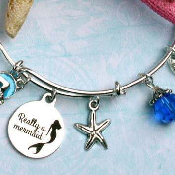mermaid beaded bracelets, flipflop charm bracelet, beach bracelets, ocean jewelry, nautical jewelry, expandable bracelet, bangle bracelet