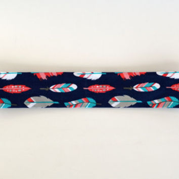 Feather patterned cotton fabric headband, no slip adult women's elastic yoga headband, sports workout headband, navy blue feathers headband