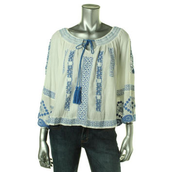 Free People Womens Cotton Embroidered Pullover Top