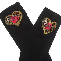 Sexy Preppy School Girl Black Knee High Womens Socks with Cheetah Print Heart and Red Rose