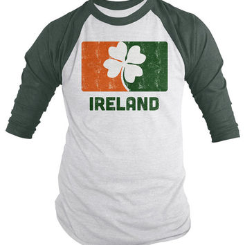 Ireland 3/4 Sleeve Raglan St. Patrick's Day Shirt Irish Pride Distressed Lucky Tees