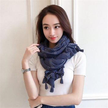 Spring  Summer Cotton Scarf   Beach Fringed Plaid Scarf  Women Thin Sunscreen Scarf