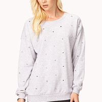 FOREVER 21 Spiked Heathered Sweatshirt Heather Grey/Silver