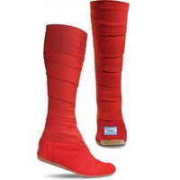 Red Vegan Wrap Boots