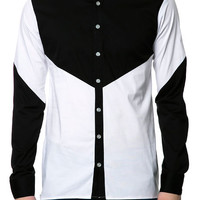 The Ruler II LS Button Down Shirt in Black and White