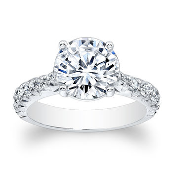 Women's 18kt white gold vintage antique engagement ring with natural 2ct Round White Sapphire center and 0.55 ctw G-VS2 diamonds