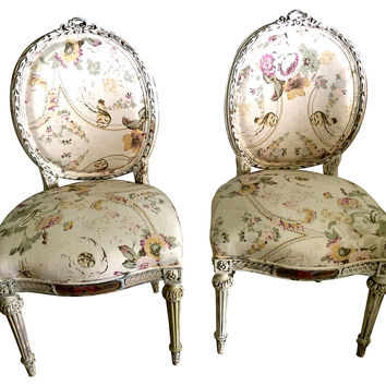 French Country-Style Chairs, Pair