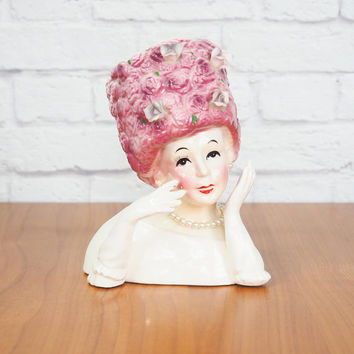Vintage RELPO A1229 Lady Head Vase 6.5"