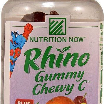 Nutrition Now Rhino Gummy Chewy C Strawberry Orange Lemon and Cherry -- 60 Gummy Bears