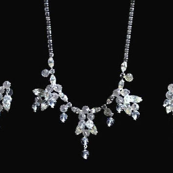 Wiesner Crystal And Rhinestone Jewelry Set, Necklace And Earrings