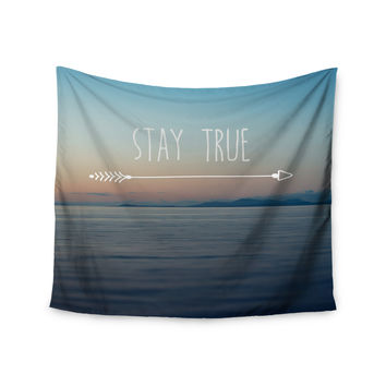 "Ann Barnes ""Stay True"" Coastal Typography Wall Tapestry"