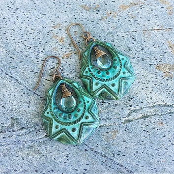 Large Tribal Hoop Chandelier Earrings, Green Quartz Briolette Large Verdigris Patina Dangle Earrings, Wire Wrapped, Bohemian Earrings