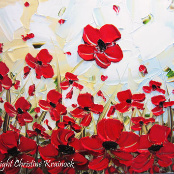 """ORIGINAL Art Abstract Painting Red Poppy Flowers Textured Modern Poppies Palette Knife Autumn Fall Floral Large Wall Decor 24x48"""" -Christine"""