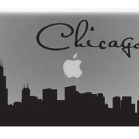 Chicago Skyline Macbook Decal With Writing / Macbook Sticker / Laptop Decal