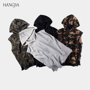 High Street Camouflage Sleeveless Hooded Hoodie Europe America Men's Kangaroo Pocket Side Split Hoodies Kanye Hip-hop Trendy Top