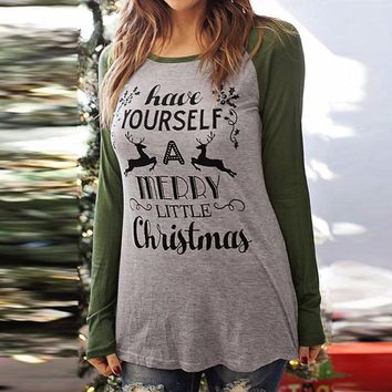 S,M,L, XL, XXL,XXXL Blusa Femenina Long Sleeve Female Loose T Shirt Christmas Amy Green patchwork little Christmas letter shirt
