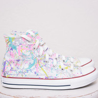 Adult LowTop or HighTop Splatter Painted Converse or Vans Sneakers Adult Size 3.5 - 12, Custom Made