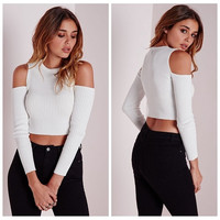 Women's Autumn Long Sleeve Off Shoulder Round Collar Sweater Midriff Sexy Knit PullOver S-XL = 5618495873