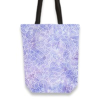 'Lavender and white swirls doodles' Tote Bags by Savousepate on miPic