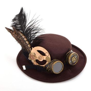 ONETOW 1pc Men/Women Steampunk Hat Gear Feather Glasses Gothic Vintage Brown Hat Victorian Cosplay