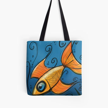'Orange Fish' Tote Bag by Titus Ruiz