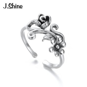 JShine Antique Flower Rings Women's 925 Sterling Silver Romantic Wedding Engagement Adjustable Rings Silver 925 Jewelry