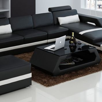 Luxury Modern Unique Sectional sofa Living room furniture with Foot Stool