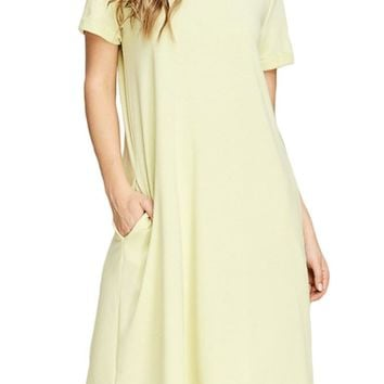 French Terry T-Shirt Dress With Pockets