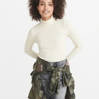Womens Ribbed Mock Neck Top | Womens Tops | Abercrombie.com
