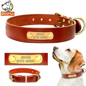 Personalized Dog Collars Genuine Leather Customized Vintage Dogs Collars Length Adjustable Engrave for Medium Large Breeds Pets