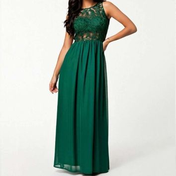 Green Hollow Out Lace Backless Women Chiffon Maxi Dress