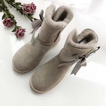 """UGG"" Womens Fashion Wool Bow Snow Boots"