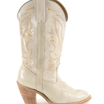 Cowboy Boots Vintage Oatmeal Leather Cowgirl Boots Womens Size 8.5