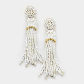 White Seed Bead Tassel Drop Earrings, Dangle, Statement Earrings, Long Tassel Earrings, Bead Tassel Earrings, Gift for Her