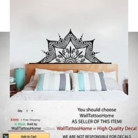 Half Mandala Art Wall Decor Headboard Decals Vinyl Sticker Yoga Namaste Boho Bohemian Decal for Bedroom Home Decor Room Ms781 (15 x 35)