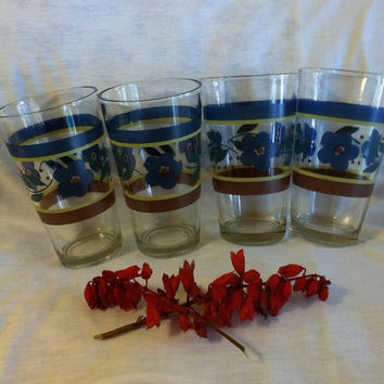 Gibson Blue Floral Glasses Vintage Blue Red Striped Glasses With Blue Flowers Set of 4 Drinking Glasses Kitchen Dining Collectible Drinkware