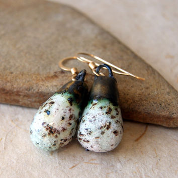 Ceramic Earrings - Artisan ceramic drops  - Mint Chip - Chocolate Chip Mint - gold fill earwires - Rustic