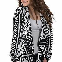 Western Connection® Women's White with Black Aztec Long Sleeve Sweater Cardigan