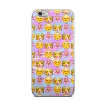 Flower Crown & Blushing Emoji Collage Teen Cute Girly Girls Tie Dye iPhone 4 4s 5 5s 5C 6 6s 6 Plus 6s Plus 7 & 7 Plus Case