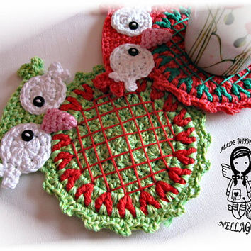 Crochet PATTERN, Mat Christmas Owl, Place mat, Decoration, Home Decor, Ornament, Coaster, DIY Pattern 153
