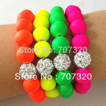 Min.Order ( $9.9 mixed) Handmade Jewelry Hot Neon Bracelet Fluorescence Candy Color Beads Ball Stretch Bracelet