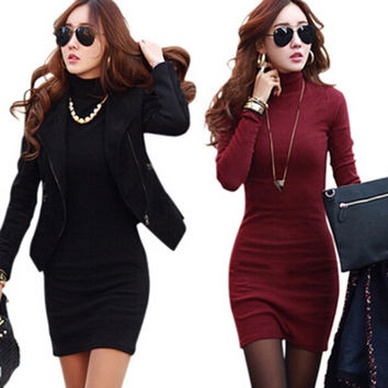 Women Fashion Turtleneck Solid Slim Warm Mini Bodycon Dresses = 1932615108