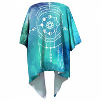 Boho Kimono / Ombre Draped Moon Phase Shamanic Geometry Mandala Gradient Robe / festival wear / Bohemian Universe Constellation Clothing
