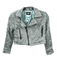 Glitter Me Motto Jacket (SILVER) by Valfre