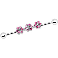 Pink Clear Gem Surgical Steel Delicate Flowers Industrial Barbell | Body Candy Body Jewelry
