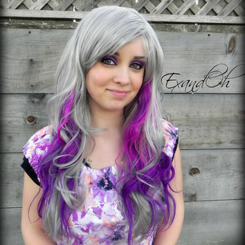 ON SALE // Silver Purple Wig / Long Curly Hair, Lolita Scene Wig, Neon Violet Cosplay Wig, Mermaid Hair, Fashion Color Natural Style
