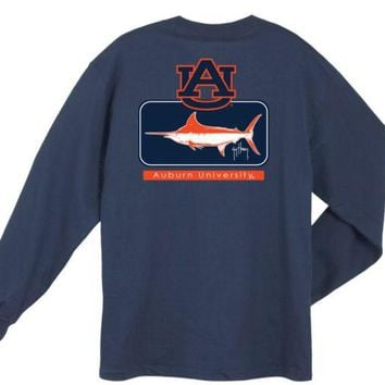 DCCKG8Q NCAA Auburn Tigers Guy Harvey Blocked Navy Blue LS T-shirt