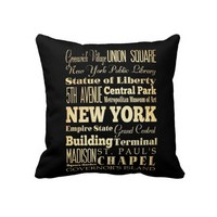 New York City of New York State Typography Art Pillows