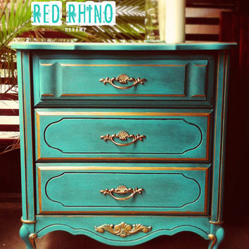 Regal Teal & Gold French Provincial Dresser // SOLD