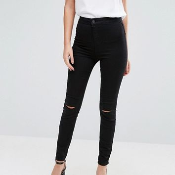 New Look Double Slash Skinny Jeans at asos.com